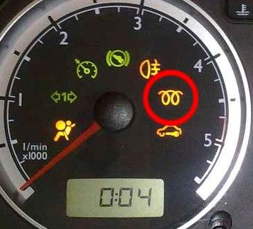 testigo de los calentadores del coche